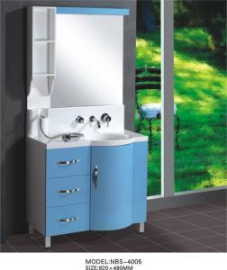 China 淡いブルーの円形のタイプ掛かる浴室の虚栄心の二重流し 92 x 48/cm の人工的な石造りの洗面器 on sale