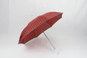 China 27 Inch Manual Windproof Golf Umbrellas Red Tartan Fabric Acrylic Handle on sale
