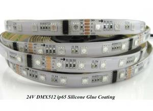 China DMX512 RGB LED strip light 24V 60LED/meter,IP65 silicone glue coating on sale