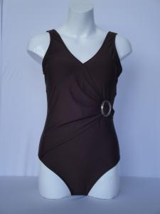 China Custom made women brown color polyester swim suit plus size S , M , L , XL , XXL on sale