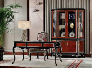 China Luxury Home office Furniture set Ebony wood Bookcase cabients and Reading desk in glossy painting with Writing chairs on sale