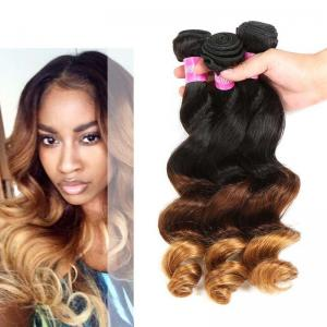 China Peruvian Loose Wave Ombre Human Hair Extensions 3 Tone Ombre Hair Weave on sale
