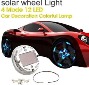 China Car Wheel Tire Rim Solar Energy Flash Light Lamp 4 Modes 12 LED on sale