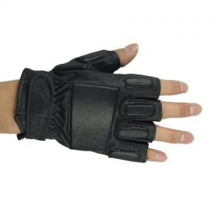 China Black Half Finger Tactical Gloves,Made By Elastic PVC, Leather And Nylon Fiber on sale
