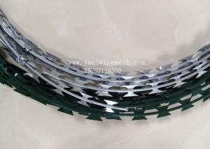 China 450mm Hot Dip Razor Barbed Wire Galvanized Steel BTO-22 For Security Fence on sale