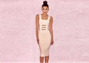 China Sleeveless Nude Cute Cut Out Anti-wrinkle Women Bandage Dress on sale