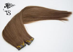 China Dark Brown Indian Virgin Tape In Human Hair Extensions , Straight Indian Hair Extensions on sale