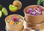 disposable take away kraft paper salad bowl with PET lid,kraft salad bowl