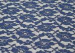 Azul metálico respetuoso del medio ambiente de la tela del cordón, tela de nylon CY-LW0791 del cordón del algodón