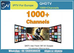China QHDTV IPTV 1 Year with 900+ channels Arabic Africa French UK Germany Italy Box office and VOD Channels included on sale