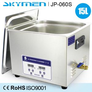 China 15 L Stainless Steel Commercial Benchtop Ultrasonic Cleaner 200w Heated Soaking Tank on sale