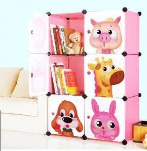 China 6 doors DIY PP pink cubes book cabinet book shelf for children on sale