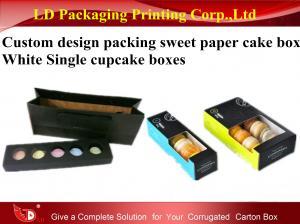 China Custom Design Packaging Sweet Paper Cake Box white Single Cupcake Boxes on sale