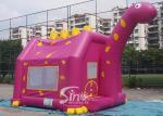 Outdoor children playground Dino inflatable bouncy castle with obstacles inside made of 1st class pvc tarpaulin