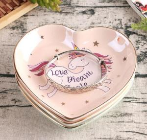 China Heart Shape Ceramic Jewelry display plates, Unicorn printed on sale