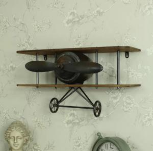 China Retro Industrial Vintage Aeroplane Wall Shelf Floating Shelf for Bar Cafe Coffee Wall Decor on sale