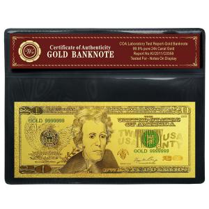 China SGS USD 20 Dollar Banknote , Gold Paper Money Decoration Article on sale