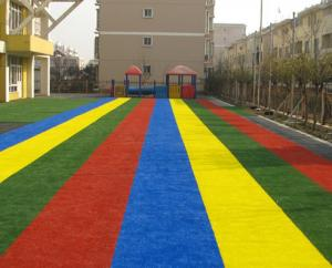 China PP & PE grass yarn 25mm height Dtex 9500 HIGH DENSITY 21000 2m or 4m width 25m length kindergarten colorful runway on sale