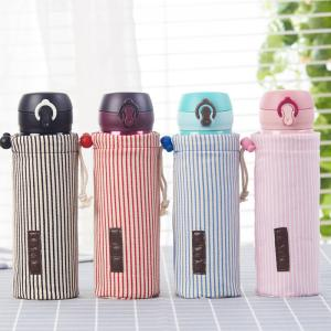 China Waterproof Cotton Drawstring Stripe Water Glass Bottle Cover Carry Bag on sale