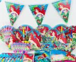 78pcs/2017 Luxury Kids Birthday Party Decoration Set Mermaid Ariel Theme Party Supplies Baby Birthday Party Pack