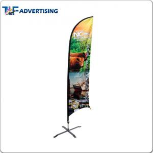 China Polyester Fabric Custom Flag Banners , Roadside Advertising Banners Fiberglass Pole on sale