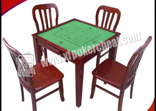 Wooden Square Marked Playing Cards Perspective Table With Hidden