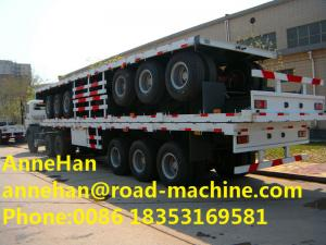 China Cimc 3axles 20ft 30 Ton 40 feet Flat Bed Shipping Container Flatbed Semi Trailer on sale