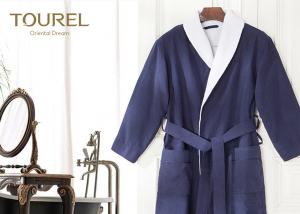 China Velour 100% colorful Cotton Hotel Quality Bathrobes With Luxury Embroidery on sale