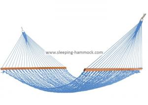 China Mildew Resistant  2 Person / Single Woven Rope Hammock  Light Blue Outdoor on sale