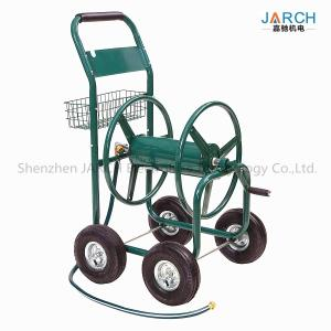 China 4 Wheel Steel Garden Hose Reel Cart 350 Feet Weather Resistant With Non - Slip Handle on sale
