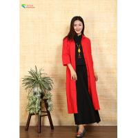 China Long Women Red Chinese Jacket , Double Layer Chinese Quilted Coat For Spring on sale