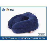 Blue Polyurethane Memory Foam Contour Travel Pillow / Memory Foam Car Neck Pillow