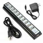 10 Ports High Speed Powered USB 2.0 Hub High Efficiency With Led Lights Indicator