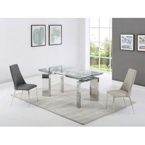 dining table clear tempered glass stainless steel legs for sale