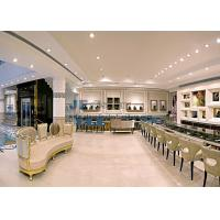 Neo Classical Jewerly shop fitting display cases in white marble with Glass showcase and Luxury upholstery cushion sofa
