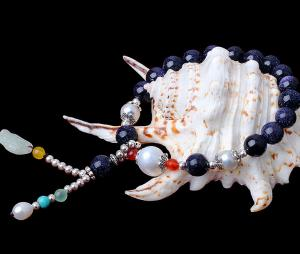 China High-end dark blue stone with pearls bracelet for wholesale on sale