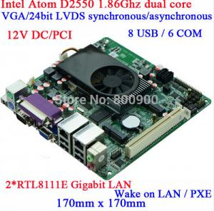 China Industrial Wholesale Atom D2550 DC12V Queue mini itx motherboard Dual Gigabit LAN motherboard on sale