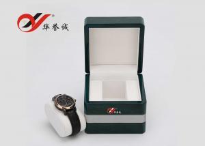 China Caja de reloj personalizada de madera de la laca verde, caja de regalo del reloj de moda con la almohada on sale