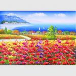 Red Poppy Floral Oil Painting Mediterranean Sea Oil Paintings By Knife