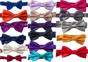 China polyester silk Men solid plain bow tie OEM logo Business dress bow tie spot wholesale double-layer  multicolor on sale