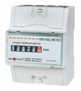 China Intelligent Small DIN Rail KWH meter , digital electricity meter 1 phase 2 wire on sale