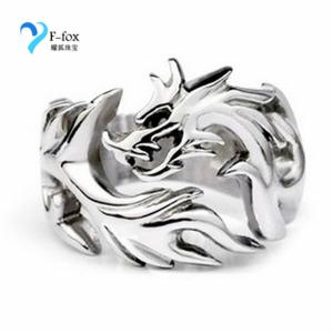 China Titanium steel Chinese style Dragon Design Rings on sale