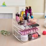 3 - Layer Plastic Acrylic Make Up Organizer Acrylic Makeup Stand High Hardness