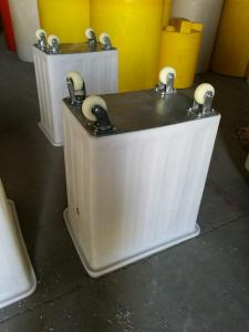 China K300-5 Heavy Duty 300 Litre Mobile Rotomoulded Poly (PE) Straight Sided Plastic Tub with wheels and colver on sale