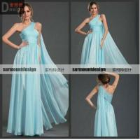 SH704 Fasion Style Elegant A-line Off the shoulder Light Blue Chiffon Floor Lenght Pleat Gown Evening Dresses China
