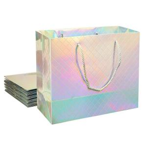 China Custom Logo Printed Wholesale Retail Rainbow Iridescent Fancy Holographic Hologram Paper Gift Bags on sale