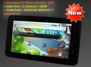 China 7 inch tablet PC with GPS with 3G phone call Android 2.2OS DDR512M WIFI touch screen HDMI on sale
