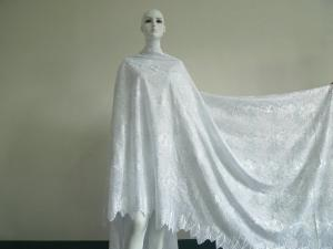China White Heavy African Lace Fabric Soft For Wedding Shoes / Dress on sale