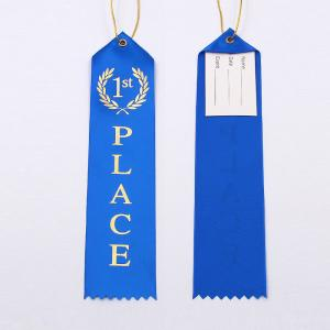 China Fancy Custom Award Ribbons Blue / Red / White Color Hot Stamping Printing on sale