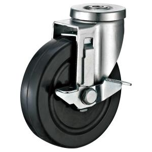China Rubber Shopping Cart Casters With Slide Locking Brakes 1/2 Bolt Hole on sale
